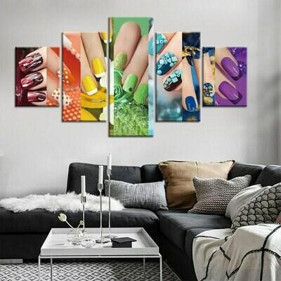 Colorful Nails - 5 Panel Canvas Print Wall Art Set