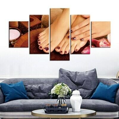 Foot Nail - 5 Panel Canvas Print Wall Art Set
