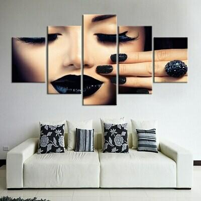 Black Nail - 5 Panel Canvas Print Wall Art Set