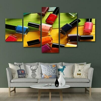 Color Nail Polish - 5 Panel Canvas Print Wall Art Set