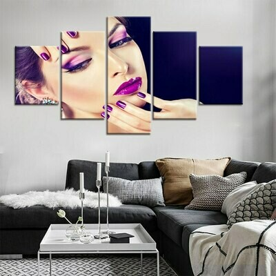 Purple Nail - 5 Panel Canvas Print Wall Art Set