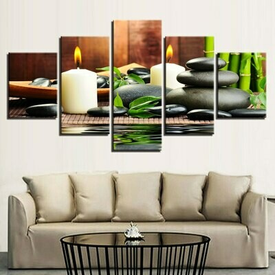 Bamboo Candle Stone - 5 Panel Canvas Print Wall Art Set