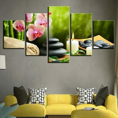 Bamboo Orchid Stone Candle - 5 Panel Canvas Print Wall Art Set