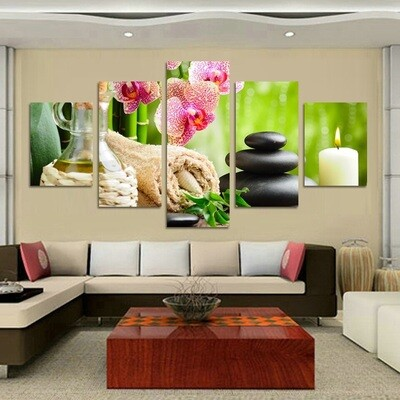 Flower Stone Candle - 5 Panel Canvas Print Wall Art Set