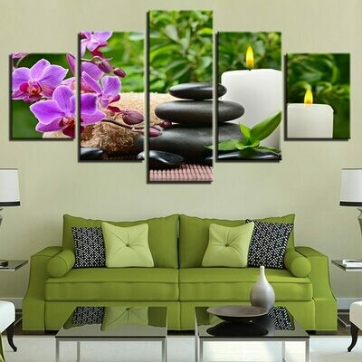 Orchid Pebbles Candle - 5 Panel Canvas Print Wall Art Set