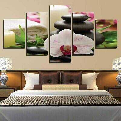 Stone Candle Flower - 5 Panel Canvas Print Wall Art Set