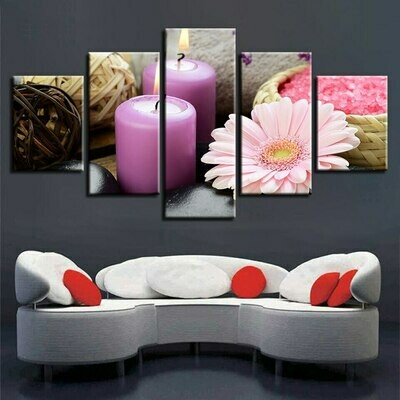 Stone Flower Candle Modular - 5 Panel Canvas Print Wall Art Set