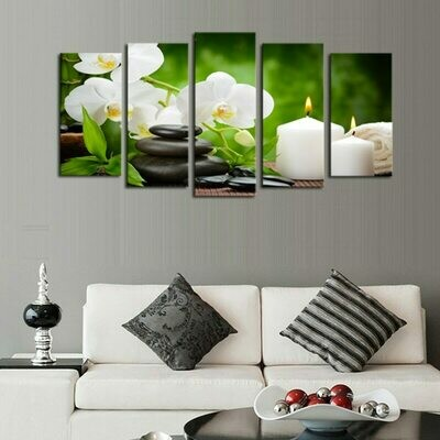 Stone Flower Candle Scenery - 5 Panel Canvas Print Wall Art Set