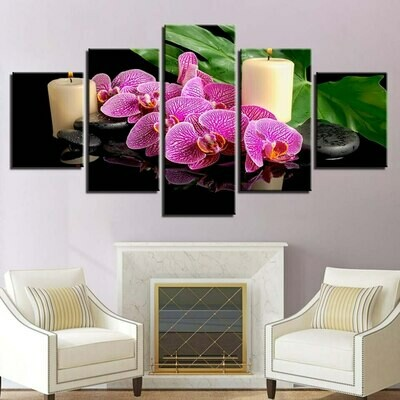 Candle Flower Stone Leaves - 5 Panel Canvas Print Wall Art Set