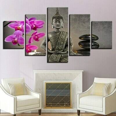 Orchid Stone Candle Buddha - 5 Panel Canvas Print Wall Art Set