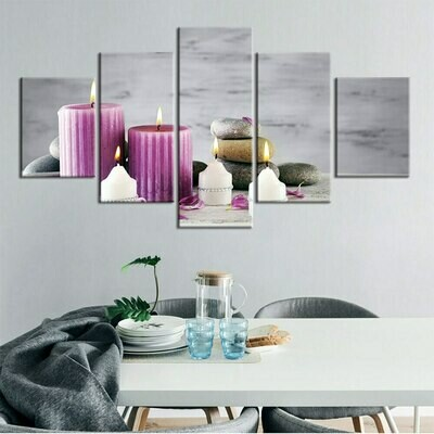 Pink White Candles Stone Flower - 5 Panel Canvas Print Wall Art Set