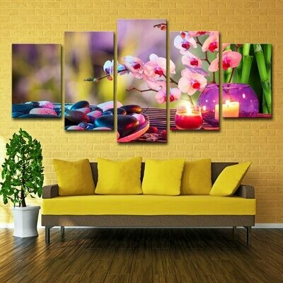 Purple Moth Orchid Candle - 5 Panel Canvas Print Wall Art Set