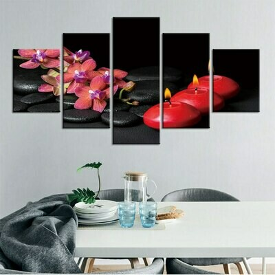 Spa Stones Zen - 5 Panel Canvas Print Wall Art Set