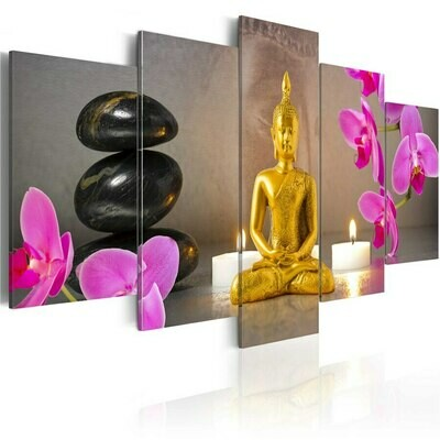 Stone Candle Gold Buddha - 5 Panel Canvas Print Wall Art Set