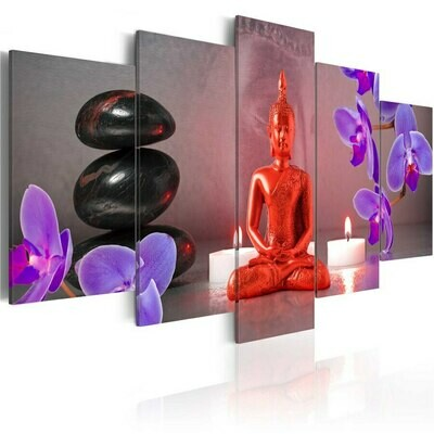 Stone Candle Red Buddha - 5 Panel Canvas Print Wall Art Set