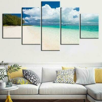 Coastal Beach - 5 Panel Canvas Print Wall Art Set