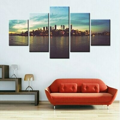 Coastal City Night Scene Romantic - 5 Panel Canvas Print Wall Art Set