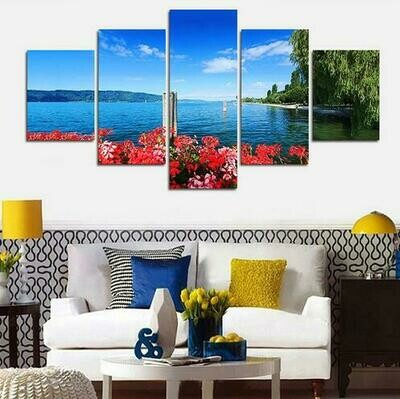 Coastal Flower Willow - 5 Panel Canvas Print Wall Art Set