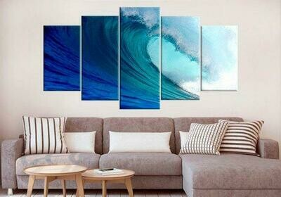 Coastal Ocean Seascape - 5 Panel Canvas Print Wall Art Set