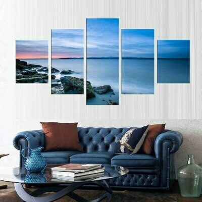 Coastal Rock Landscape - 5 Panel Canvas Print Wall Art Set