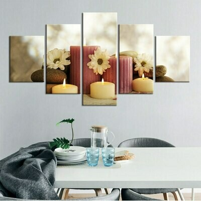 Candle Stone White Flower - 5 Panel Canvas Print Wall Art Set