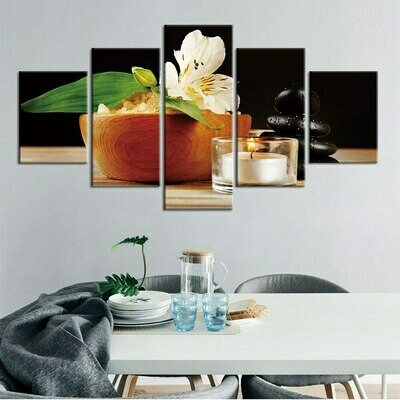 Stone Flower Candle - 5 Panel Canvas Print Wall Art Set