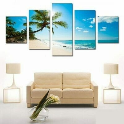 Beach And Blue Sky - 5 Panel Canvas Print Wall Art Set