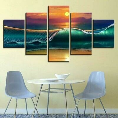 Beach Coastal Ocean Nautical - 5 Panel Canvas Print Wall Art Set