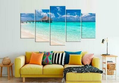 Coastal Beach Seascape Landscape - 5 Panel Canvas Print Wall Art Set