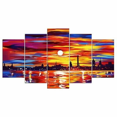 Coastal City Sunrise - 5 Panel Canvas Print Wall Art Set