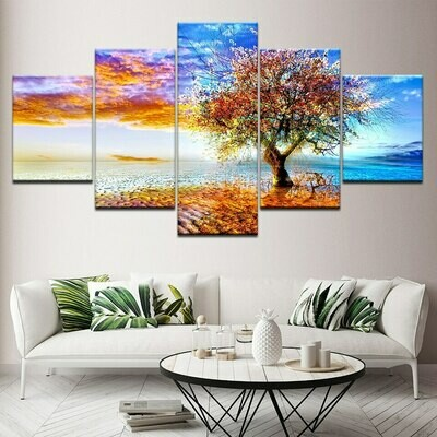 Coastal Wishing Tree - 5 Panel Canvas Print Wall Art Set