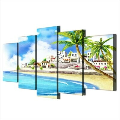 Comic Tropical Coastal Village - 5 Panel Canvas Print Wall Art Set