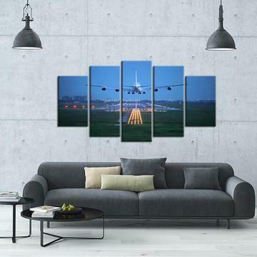 Aircraft Approach And Landing - 5 Panel Canvas Print Wall Art Set