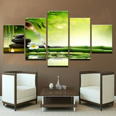 Candle Stone Flowing Water - 5 Panel Canvas Print Wall Art Set