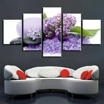 Purple Candle Stone Flower - 5 Panel Canvas Print Wall Art Set