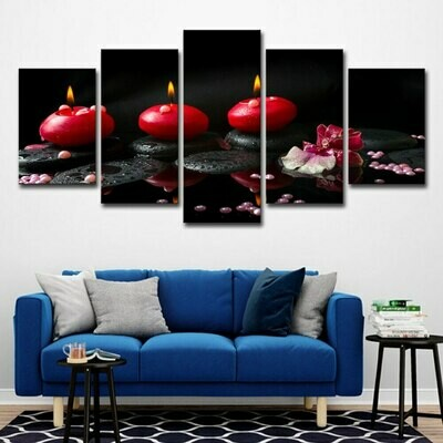 Red Candles Stone - 5 Panel Canvas Print Wall Art Set