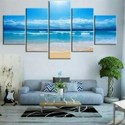 Coastal Beach Abstract - 5 Panel Canvas Print Wall Art Set