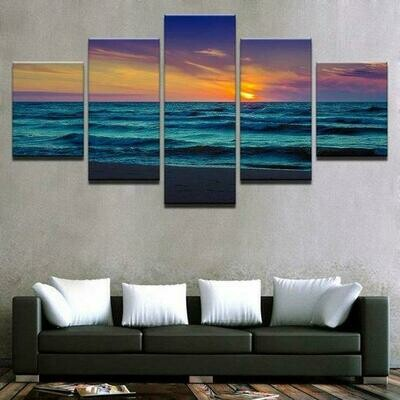 Coastal Beach Hd - 5 Panel Canvas Print Wall Art Set