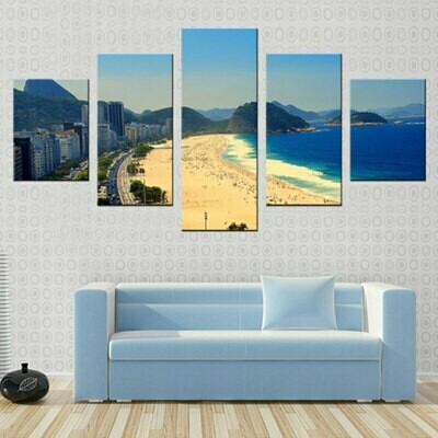Coastal City Abstract - 5 Panel Canvas Print Wall Art Set