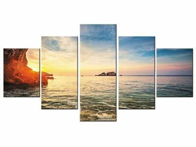 Summer Adornment Sunset Beach Coastal - 5 Panel Canvas Print Wall Art Set