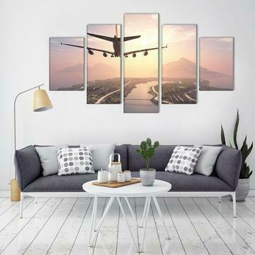 Aircraft Approach - 5 Panel Canvas Print Wall Art Set