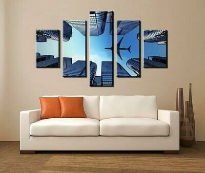 Airplane Abstract - 5 Panel Canvas Print Wall Art Set