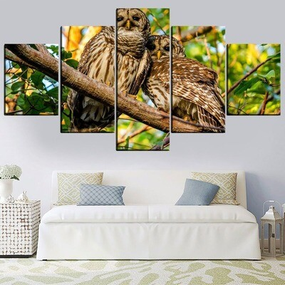 A Pair Of Owls In Woods Multi Canvas Print Wall Art