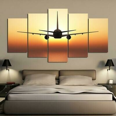 Airplane Fly With Golden Sunset - 5 Panel Canvas Print Wall Art Set