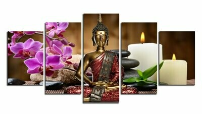Orchid Candle Zen Stone Buddha - 5 Panel Canvas Print Wall Art Set