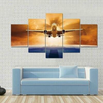 Airplane Flying Above Ocean - 5 Panel Canvas Print Wall Art Set
