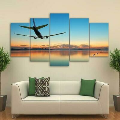 Airplane Flying In Calm Sea - 5 Panel Canvas Print Wall Art Set