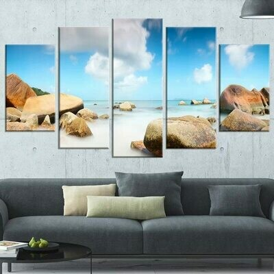Coastal Dark Stones - 5 Panel Canvas Print Wall Art Set