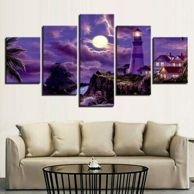 Coastal Village House Lighthouse - 5 Panel Canvas Print Wall Art Set