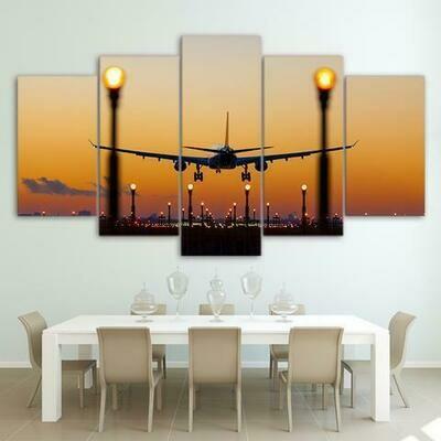 Airplane And Lights - 5 Panel Canvas Print Wall Art Set